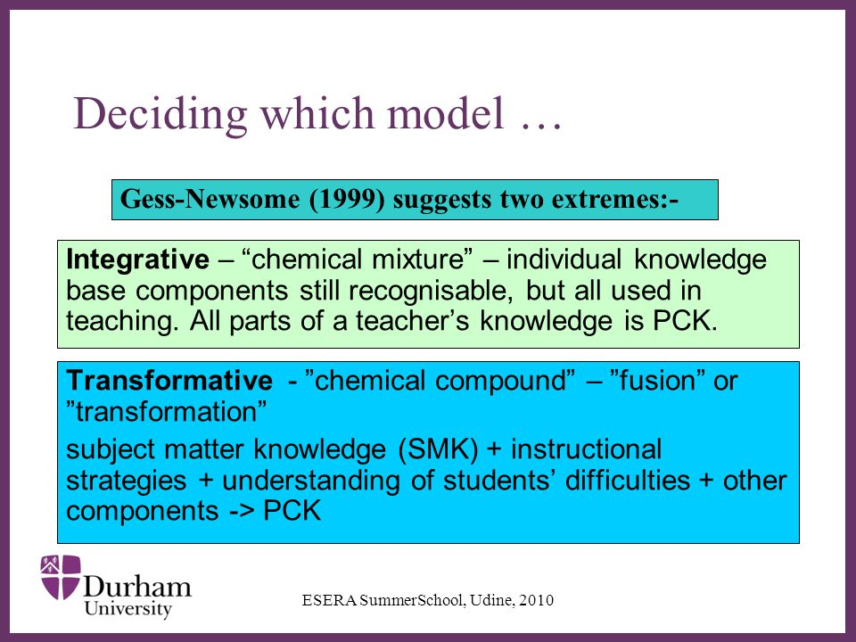 ∂ Deciding which model … Integrative – chemical mixture – individual knowledge base components still recognisable, but all used in teaching.