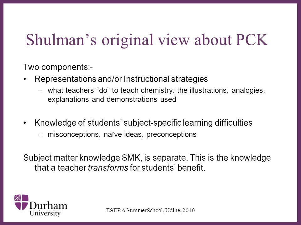 ∂ Shulman's original view about PCK Two components:- Representations and/or Instructional strategies –what teachers do to teach chemistry: the illustrations, analogies, explanations and demonstrations used Knowledge of students' subject-specific learning difficulties –misconceptions, naïve ideas, preconceptions Subject matter knowledge SMK, is separate.