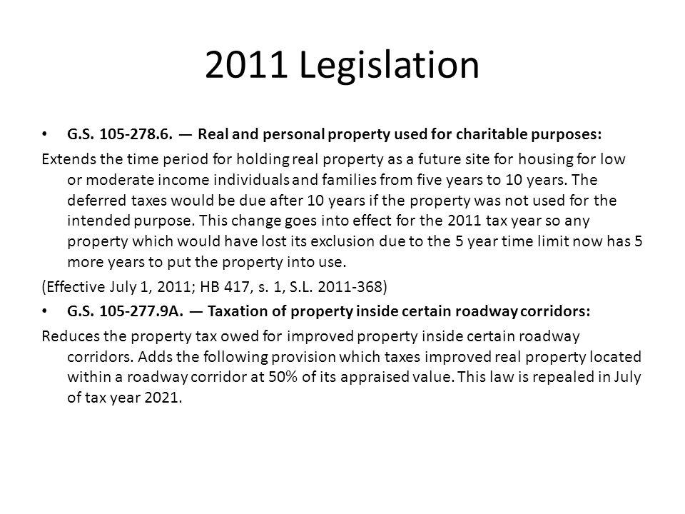 2011 Legislation G.S. 105-278.6.