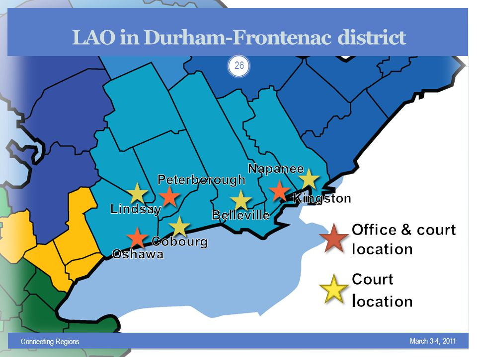 LAO in Durham-Frontenac district March 3-4, 2011 Connecting Regions 26