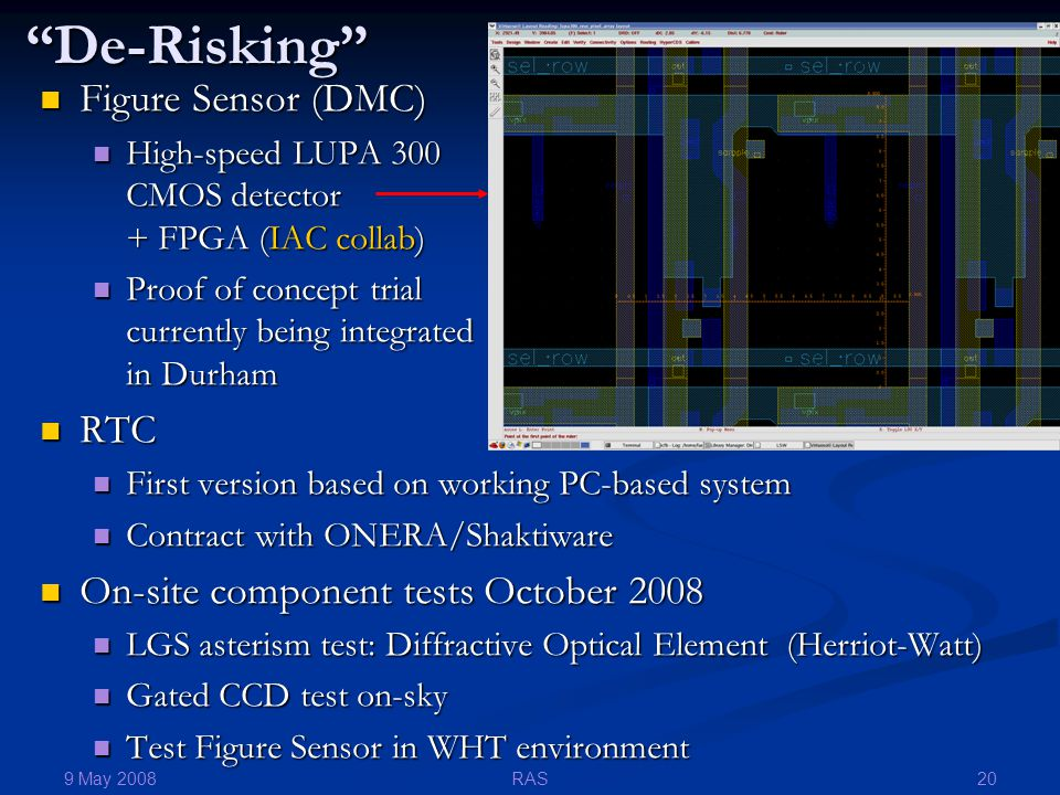 9 May 2008 20RAS De-Risking Figure Sensor (DMC) Figure Sensor (DMC) High-speed LUPA 300 CMOS detector + FPGA (IAC collab) High-speed LUPA 300 CMOS detector + FPGA (IAC collab) Proof of concept trial currently being integrated in Durham Proof of concept trial currently being integrated in Durham RTC RTC First version based on working PC-based system First version based on working PC-based system Contract with ONERA/Shaktiware Contract with ONERA/Shaktiware On-site component tests October 2008 On-site component tests October 2008 LGS asterism test: Diffractive Optical Element (Herriot-Watt) LGS asterism test: Diffractive Optical Element (Herriot-Watt) Gated CCD test on-sky Gated CCD test on-sky Test Figure Sensor in WHT environment Test Figure Sensor in WHT environment