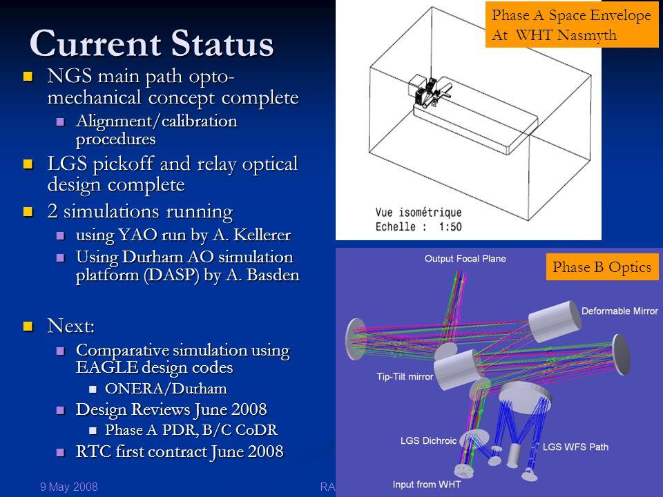 9 May 2008 21RAS Current Status NGS main path opto- mechanical concept complete NGS main path opto- mechanical concept complete Alignment/calibration