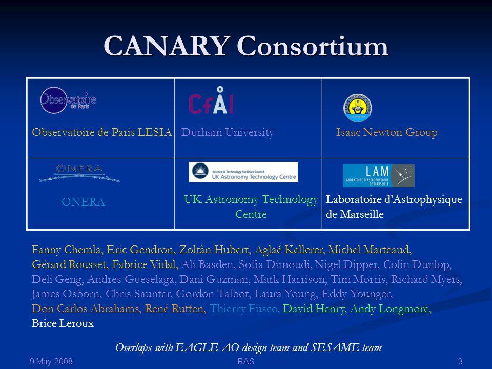 9 May 2008 3RAS CANARY Consortium Overlaps with EAGLE AO design team and SESAME team Observatoire de Paris LESIADurham UniversityIsaac Newton Group La