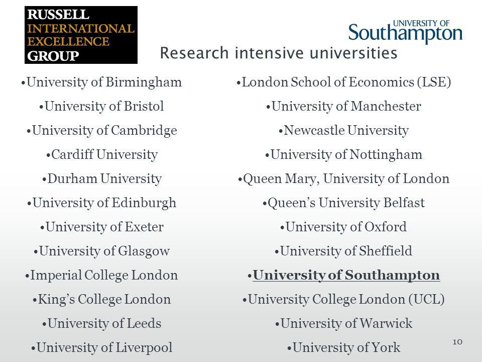10 University of Birmingham University of Bristol University of Cambridge Cardiff University Durham University University of Edinburgh University of Exeter University of Glasgow Imperial College London King's College London University of Leeds University of Liverpool London School of Economics (LSE) University of Manchester Newcastle University University of Nottingham Queen Mary, University of London Queen's University Belfast University of Oxford University of Sheffield University of Southampton University College London (UCL) University of Warwick University of York Research intensive universities