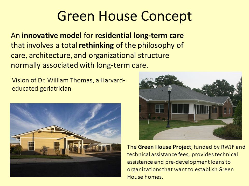 Green House Concept An innovative model for residential long-term care that involves a total rethinking of the philosophy of care, architecture, and o