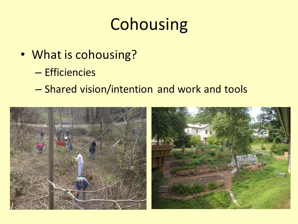 Six Defining Characteristics of Cohousing (http://www.cohousing.org/six_characteristics)http://www.cohousing.org/six_characteristics Participatory Process Neighborhood Design Common Facilities Resident Management Non-hierarchical structure and decision-making No shared community economy Pacifica (Carrboro) – upper right Eno Commons (Durham) – lower right