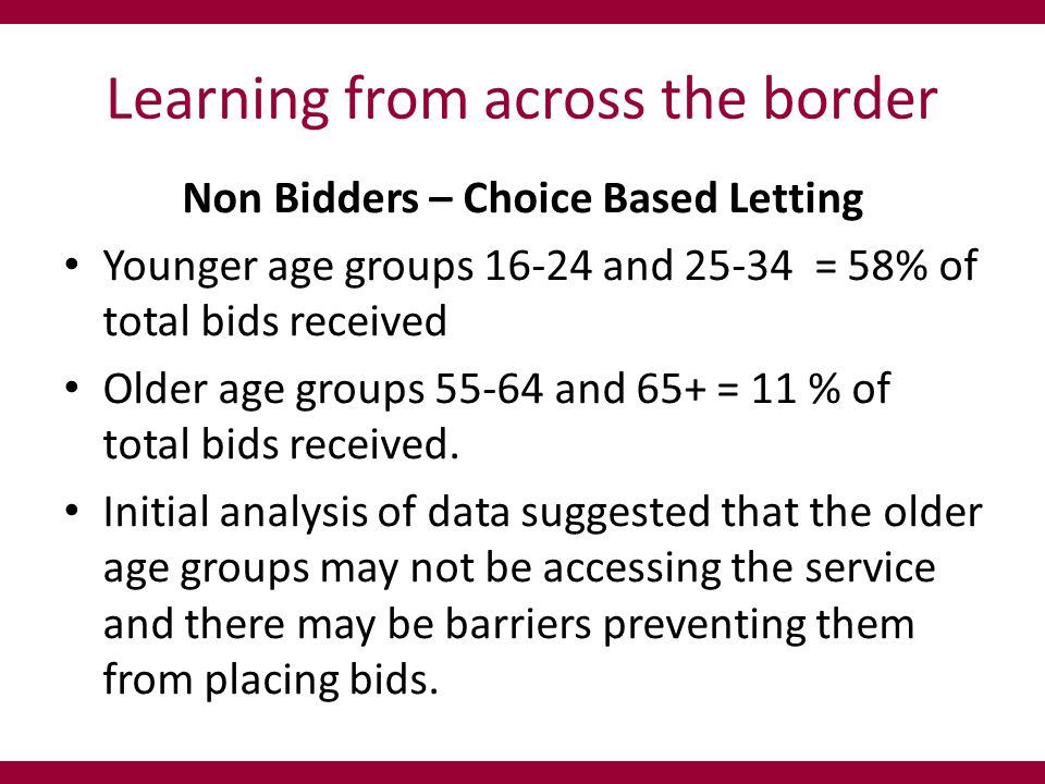 Learning from across the border Non Bidders – Choice Based Letting Younger age groups 16-24 and 25-34 = 58% of total bids received Older age groups 55-64 and 65+ = 11 % of total bids received.