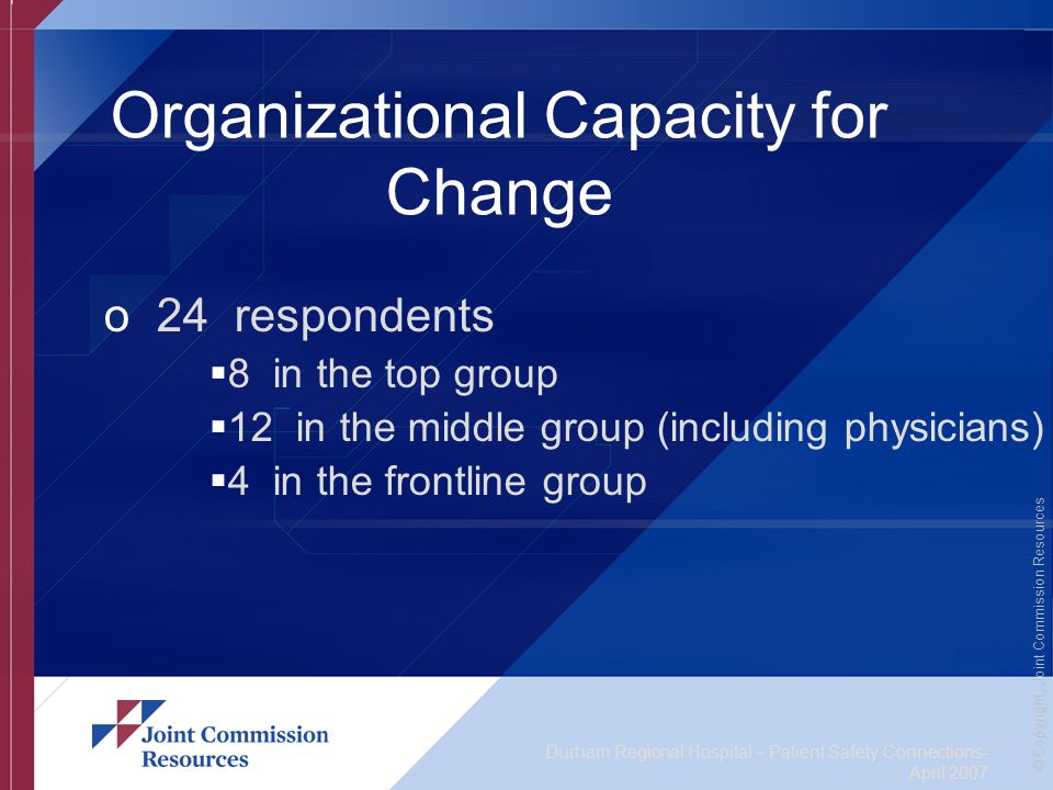 Durham Regional Hospital – Patient Safety Connections- April 2007 © Copyright, Joint Commission Resources Organizational Capacity for Change o 24 respondents  8 in the top group  12 in the middle group (including physicians)  4 in the frontline group