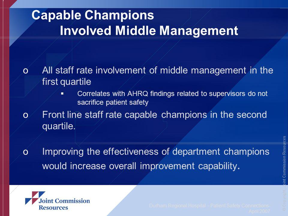 Durham Regional Hospital – Patient Safety Connections- April 2007 © Copyright, Joint Commission Resources Capable Champions Involved Middle Management oAll staff rate involvement of middle management in the first quartile  Correlates with AHRQ findings related to supervisors do not sacrifice patient safety oFront line staff rate capable champions in the second quartile.