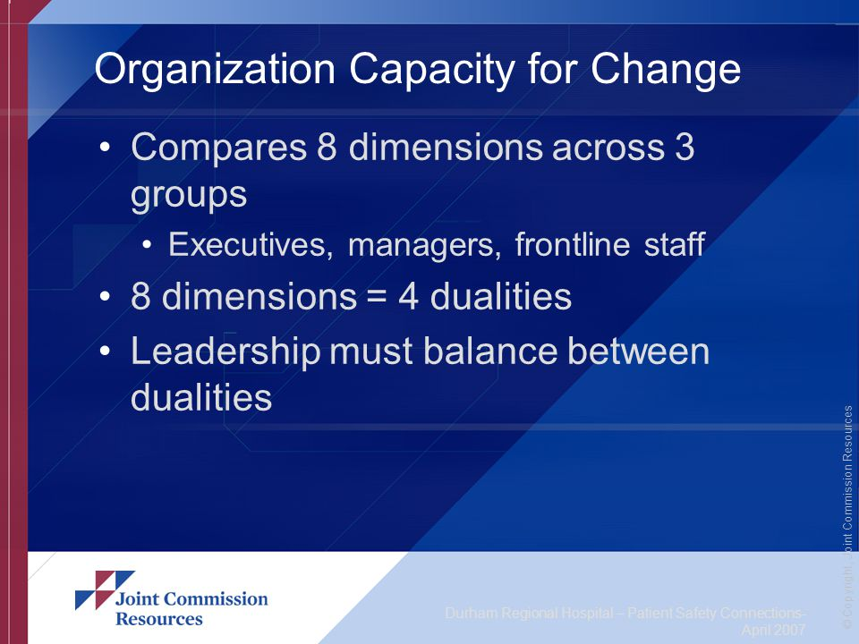 Durham Regional Hospital – Patient Safety Connections- April 2007 © Copyright, Joint Commission Resources Organization Capacity for Change Compares 8 dimensions across 3 groups Executives, managers, frontline staff 8 dimensions = 4 dualities Leadership must balance between dualities
