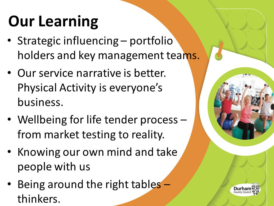 Our Learning Strategic influencing – portfolio holders and key management teams.