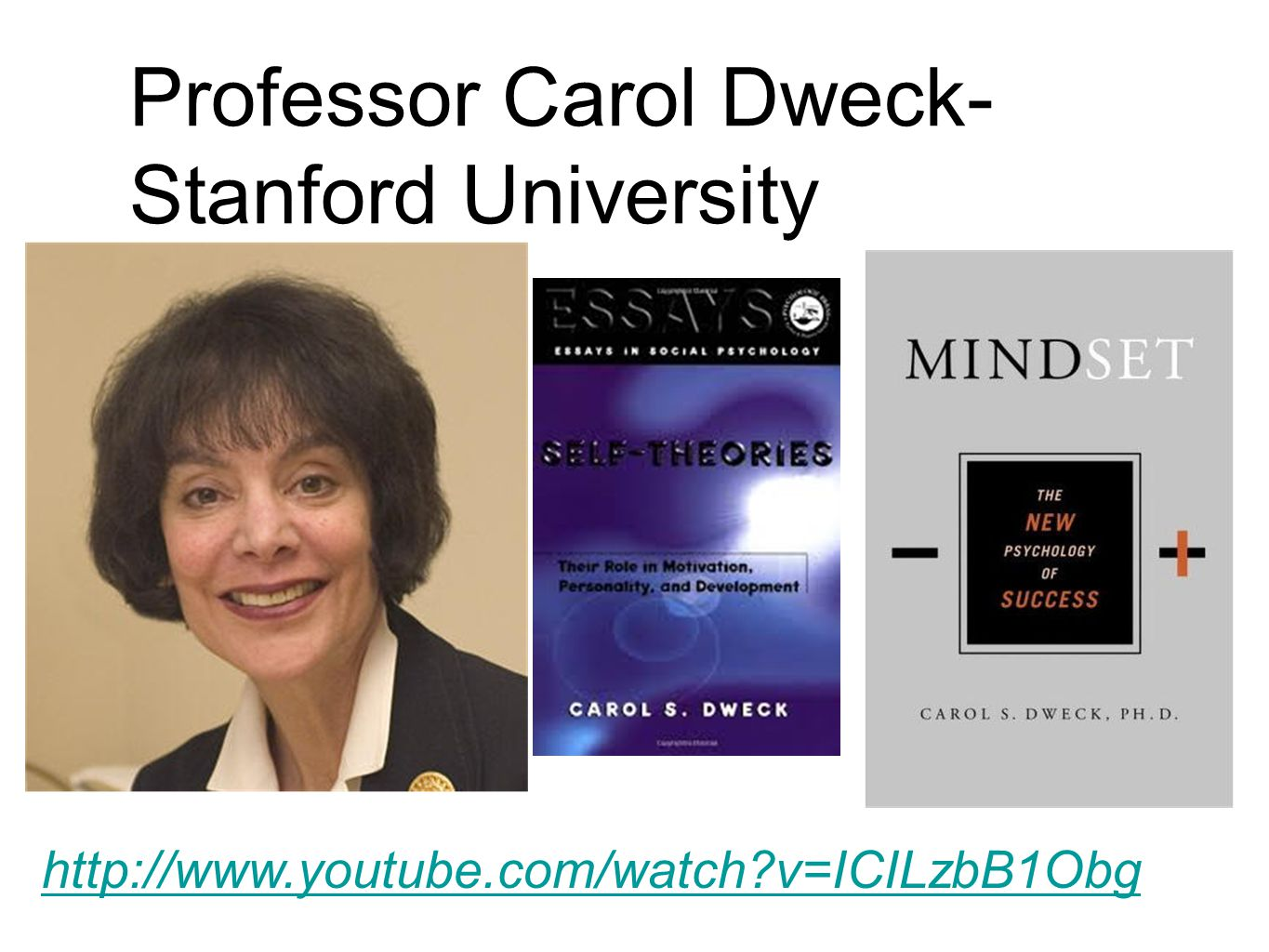 Professor Carol Dweck- Stanford University http://www.youtube.com/watch v=ICILzbB1Obg
