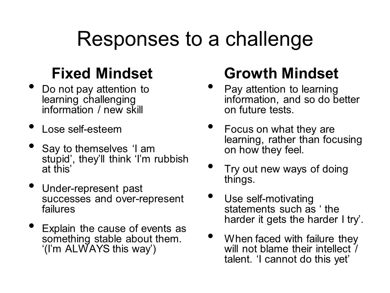 Responses to a challenge Fixed Mindset Do not pay attention to learning challenging information / new skill Lose self-esteem Say to themselves 'I am s