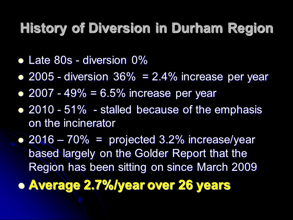 History of Diversion in Durham Region Late 80s - diversion 0% Late 80s - diversion 0% 2005 - diversion 36% = 2.4% increase per year 2005 - diversion 36% = 2.4% increase per year 2007 - 49% = 6.5% increase per year 2007 - 49% = 6.5% increase per year 2010 - 51% - stalled because of the emphasis on the incinerator 2010 - 51% - stalled because of the emphasis on the incinerator 2016 – 70% = projected 3.2% increase/year based largely on the Golder Report that the Region has been sitting on since March 2009 2016 – 70% = projected 3.2% increase/year based largely on the Golder Report that the Region has been sitting on since March 2009 Average 2.7%/year over 26 years Average 2.7%/year over 26 years