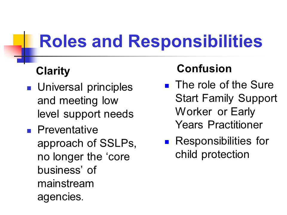 Roles and Responsibilities Clarity Universal principles and meeting low level support needs Preventative approach of SSLPs, no longer the 'core business' of mainstream agencies.