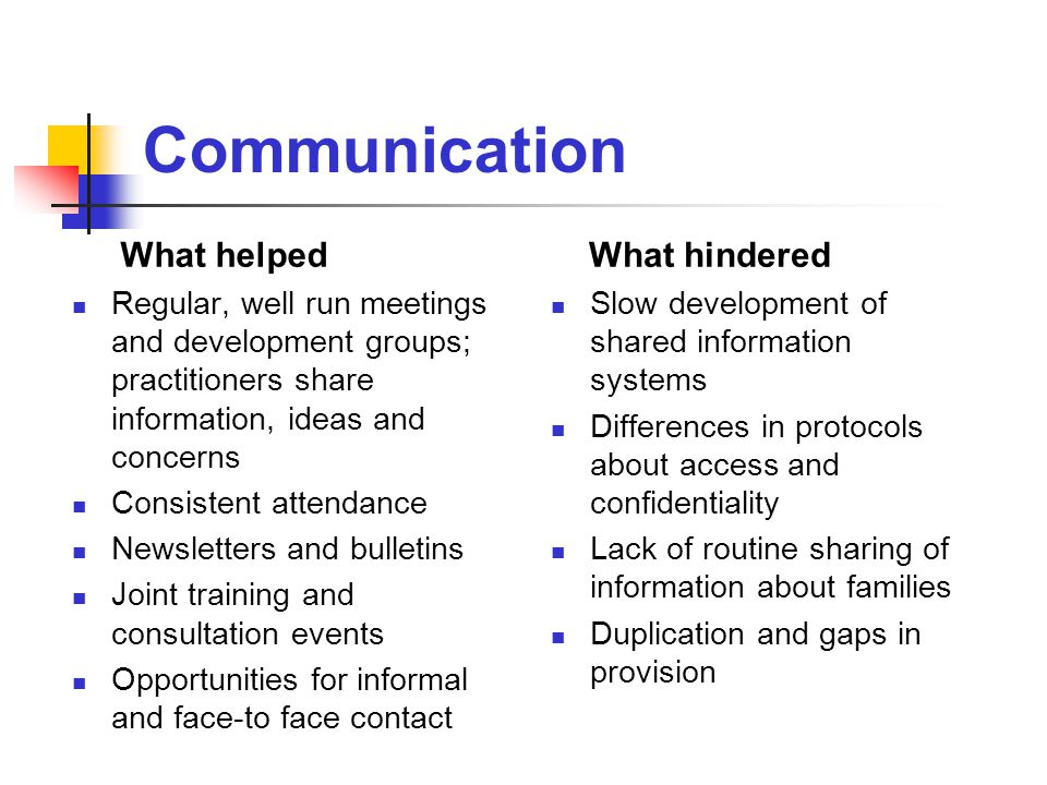 Communication What helped Regular, well run meetings and development groups; practitioners share information, ideas and concerns Consistent attendance Newsletters and bulletins Joint training and consultation events Opportunities for informal and face-to face contact What hindered Slow development of shared information systems Differences in protocols about access and confidentiality Lack of routine sharing of information about families Duplication and gaps in provision