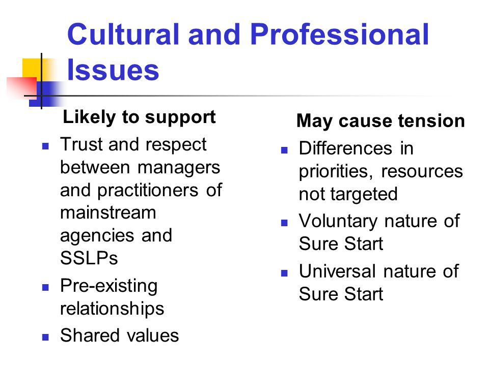 Cultural and Professional Issues Likely to support Trust and respect between managers and practitioners of mainstream agencies and SSLPs Pre-existing relationships Shared values May cause tension Differences in priorities, resources not targeted Voluntary nature of Sure Start Universal nature of Sure Start