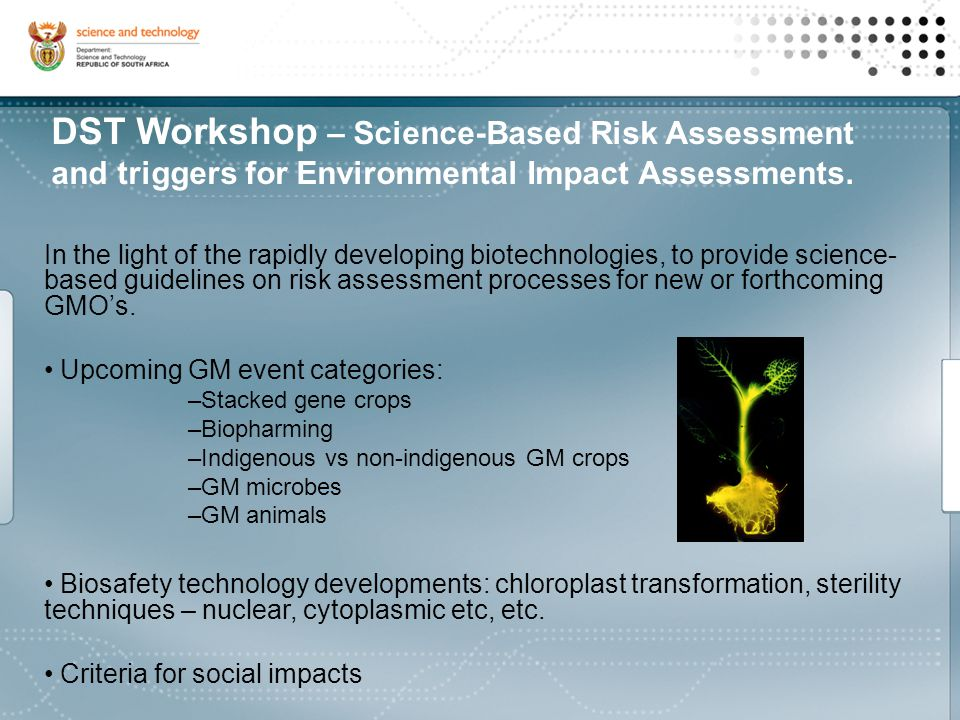 DST Workshop – Science-Based Risk Assessment and triggers for Environmental Impact Assessments.