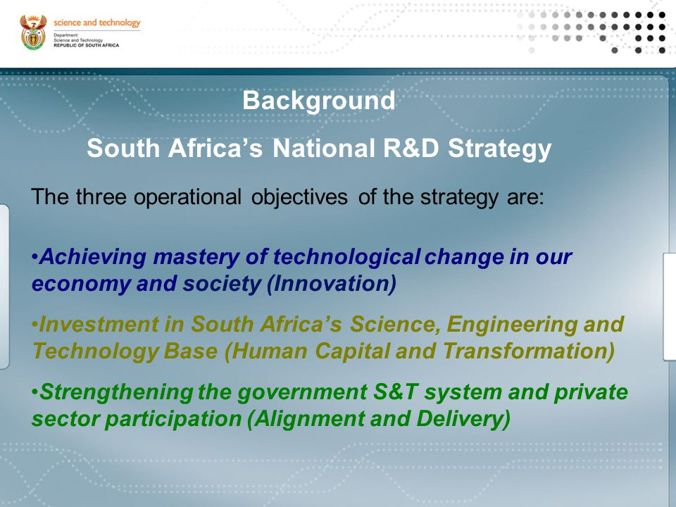 South Africa's National Biotechnology Strategy Minister Science and Technology Department of Science and Technology National Advisory Council on Innovation Biotech Instruments Biotechnology Unit Biotech Advisory Committee Biotech Stakeholders Other govt departments