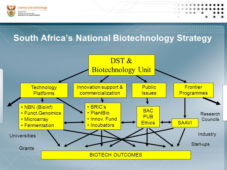 South Africa's National Biotechnology Strategy Biotechnology Full range, but some emphasis on 3rd generation Regional Regional socio-economic, environmental and academic advantages Innovation System A: science to technology – robust platforms System B: technology to product / market – enhanced commercialization System C: embed technology/product in an enterprise – increase incubation Centres Aggregator/broker/supplier for networks & services that support systems A,B,C Developing the Innovation Chain