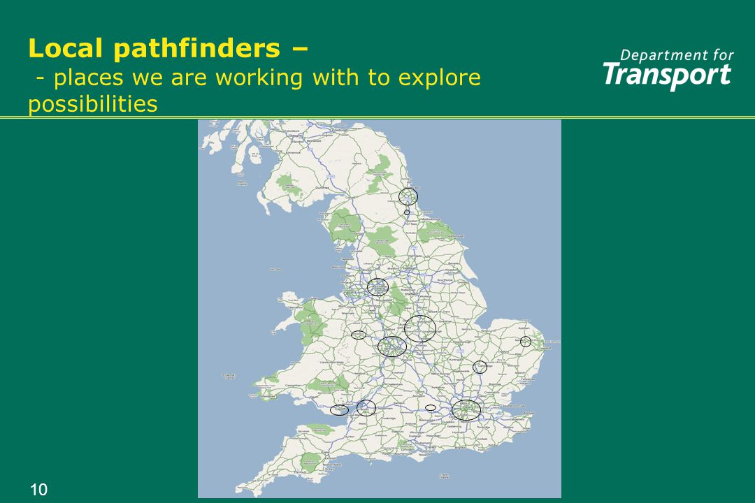 10 Local pathfinders – - places we are working with to explore possibilities