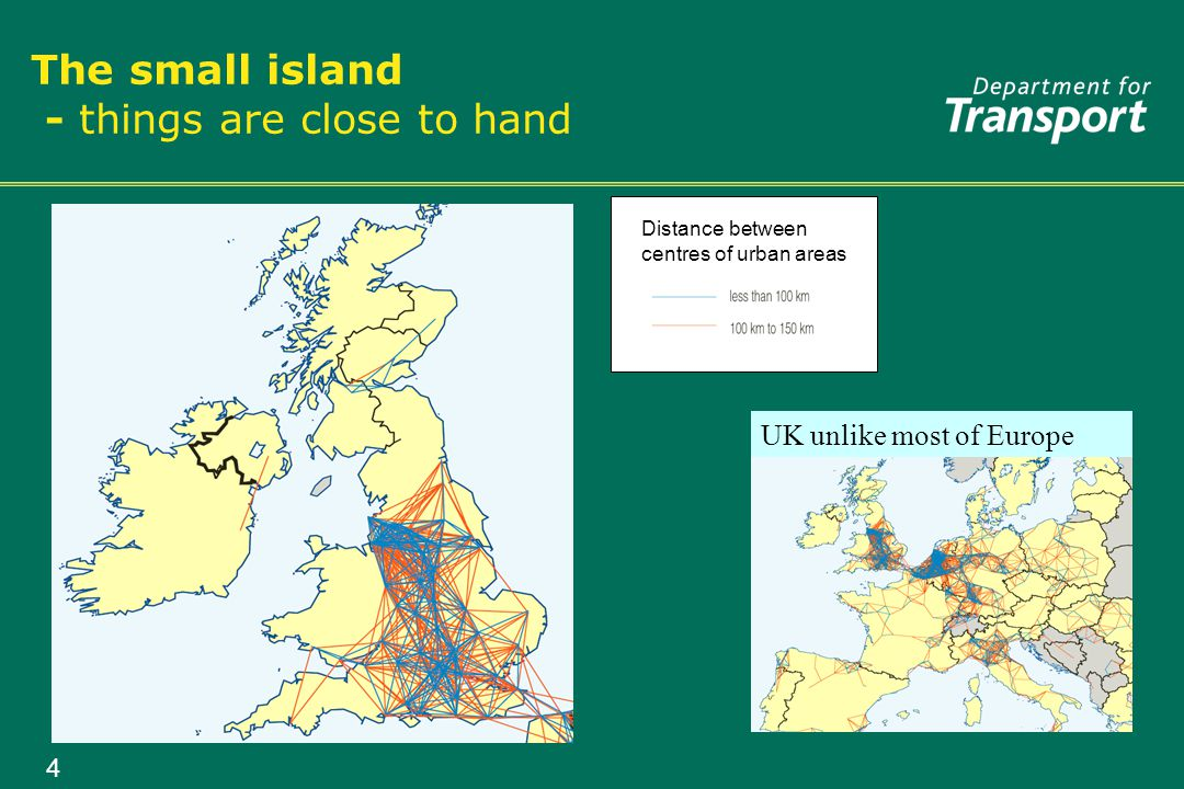 4 The small island - things are close to hand Distance between centres of urban areas UK unlike most of Europe