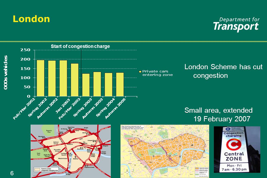 7 Road user charging in the UK Where we are today London congestion charge Introduced 2003, extended 2007 Durham Very local scheme, introduced 2002 London congestion charge Introduced 2003, extended 2007 Durham Very local scheme, introduced 2002