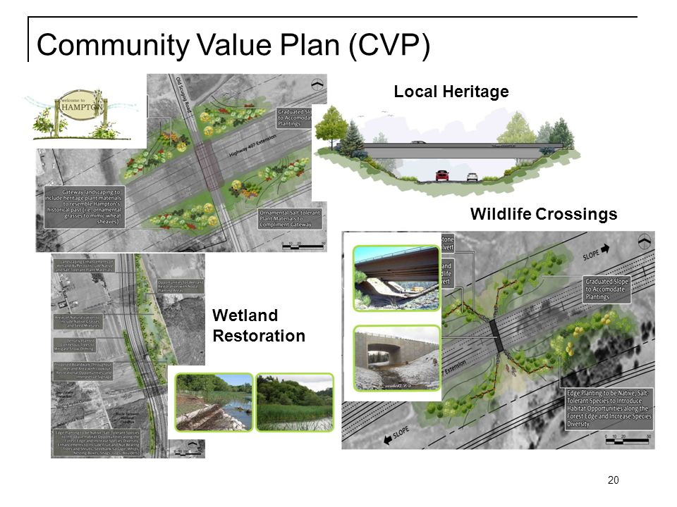 20 Local Heritage Community Value Plan (CVP) Wildlife Crossings Wetland Restoration