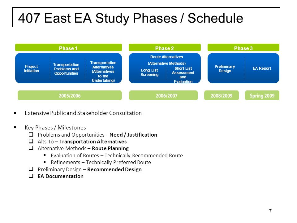 7 407 East EA Study Phases / Schedule  Extensive Public and Stakeholder Consultation  Key Phases / Milestones  Problems and Opportunities – Need / Justification  Alts To – Transportation Alternatives  Alternative Methods – Route Planning  Evaluation of Routes – Technically Recommended Route  Refinements – Technically Preferred Route  Preliminary Design – Recommended Design  EA Documentation Phase 2Phase 3Phase 1 Project Initiation Transportation Problems and Opportunities Transportation Alternatives (Alternatives to the Undertaking) Route Alternatives (Alternative Methods) Long List Screening Short List Assessment and Evaluation Preliminary Design EA Report