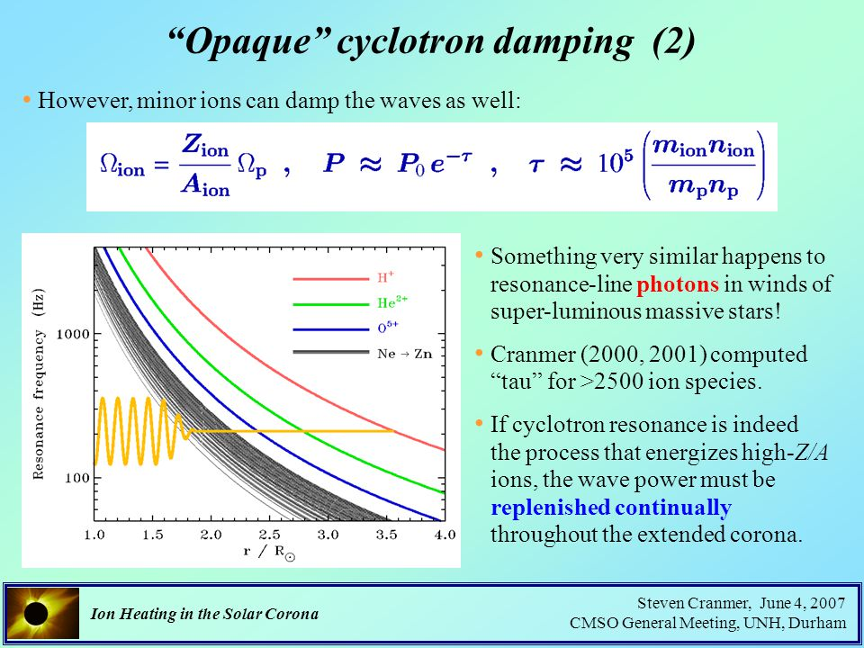 Ion Heating in the Solar Corona Steven Cranmer, June 4, 2007 CMSO General Meeting, UNH, Durham Opaque cyclotron damping (2) However, minor ions can damp the waves as well: Something very similar happens to resonance-line photons in winds of super-luminous massive stars.
