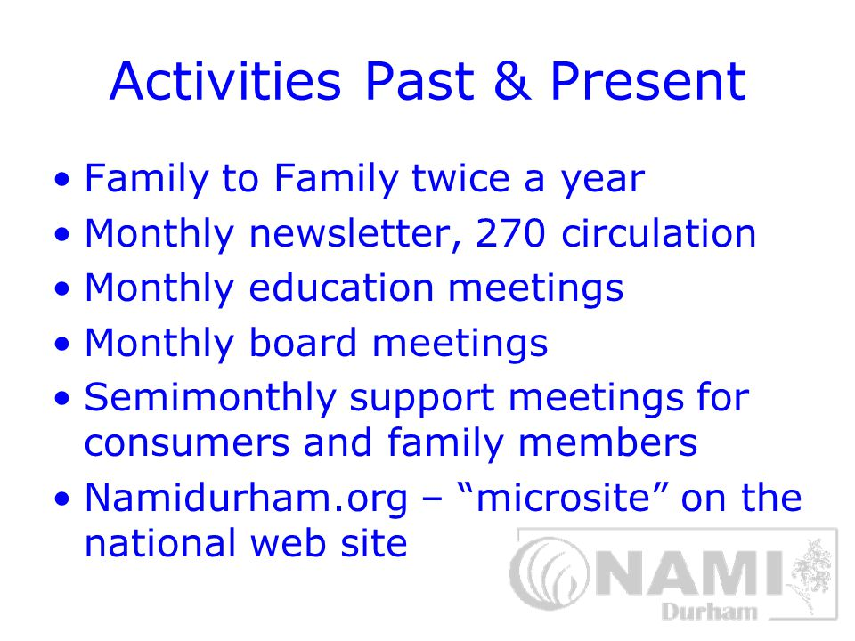 Activities Past & Present Family to Family twice a year Monthly newsletter, 270 circulation Monthly education meetings Monthly board meetings Semimonthly support meetings for consumers and family members Namidurham.org – microsite on the national web site
