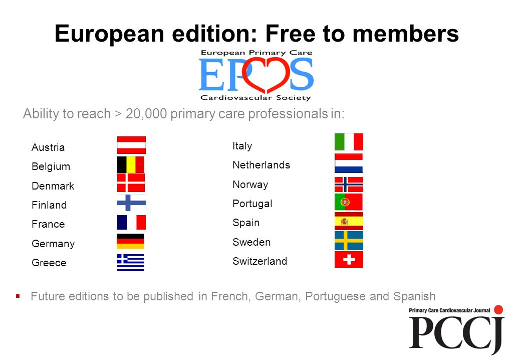 European edition: Free to members Austria Belgium Denmark Finland France Germany Greece Italy Netherlands Norway Portugal Spain Sweden Switzerland  Future editions to be published in French, German, Portuguese and Spanish Ability to reach > 20,000 primary care professionals in:
