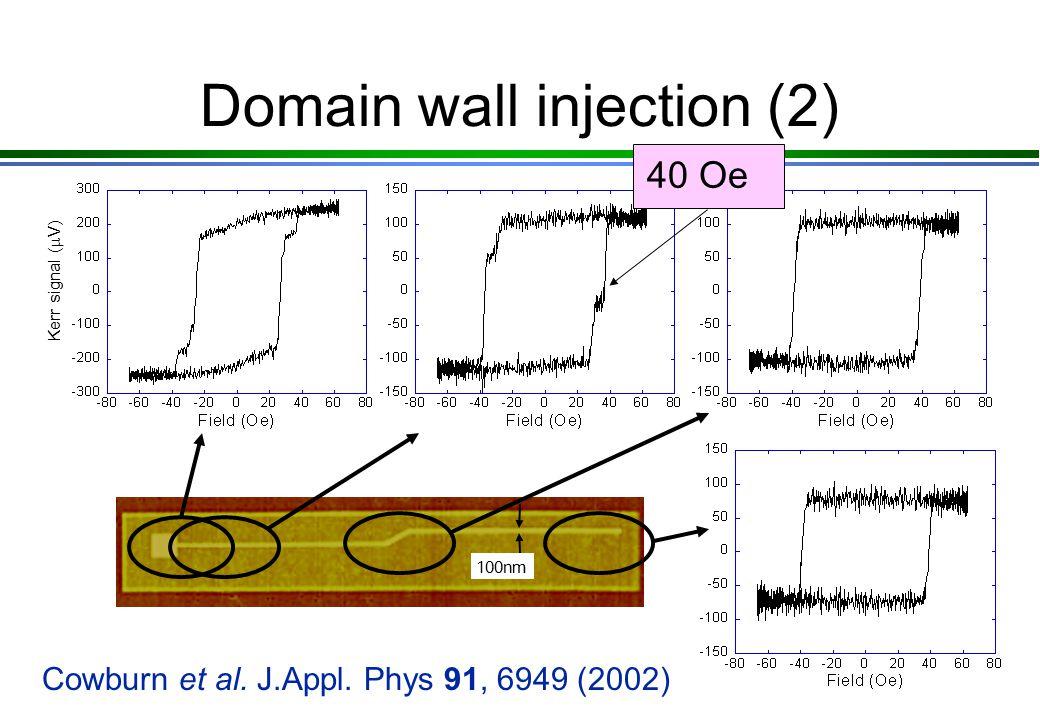Domain wall pipleline at a corner? -300 0 300 Field (Oe) Magnetisation -240 Oe 140 Oe