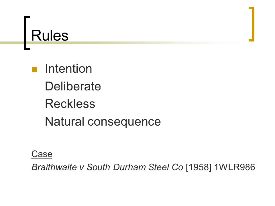 Rules Intention Deliberate Reckless Natural consequence Case Braithwaite v South Durham Steel Co [1958] 1WLR986