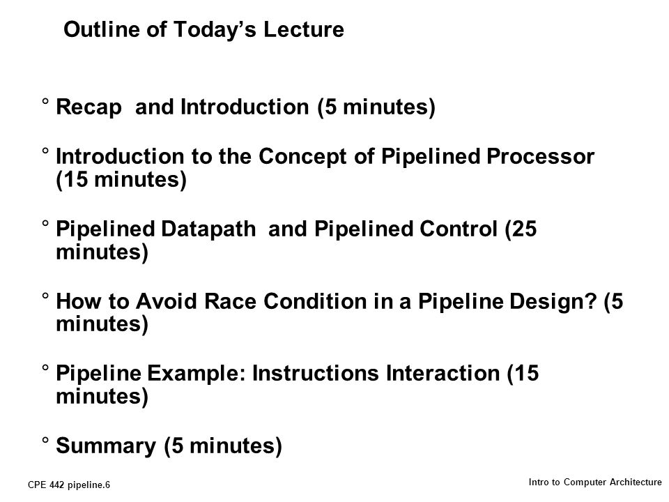 CPE 442 pipeline.27 Intro to Computer Architecture How About Control Signals.