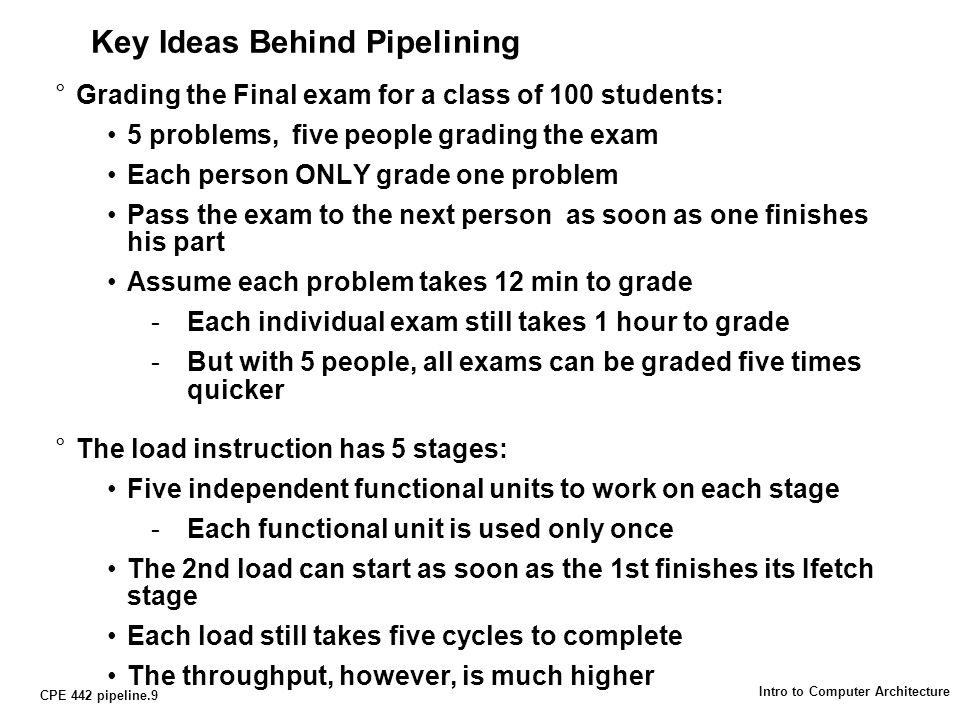 CPE 442 pipeline.30 Intro to Computer Architecture The Pipeline Problem °Multiple Cycle design prevents race condition between Addr and WrEn: Make sure Address is stable by the end of Cycle N Asserts WrEn during Cycle N + 1 °This approach can NOT be used in the pipeline design because: Must be able to write the register file every cycle Must be able write the data memory every cycle Clock IfetchReg/DecExecMemWrStore IfetchReg/DecExecMemWrStore IfetchReg/DecExecMemWrR-type IfetchReg/DecExecMemWrR-type