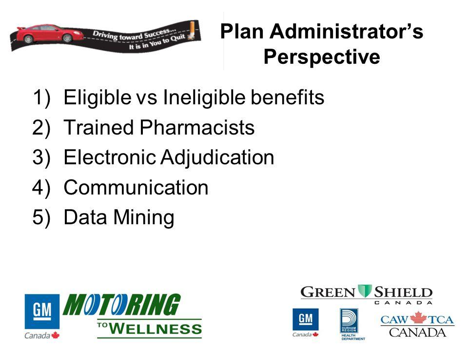 Plan Administrator's Perspective 1)Eligible vs Ineligible benefits 2)Trained Pharmacists 3)Electronic Adjudication 4)Communication 5)Data Mining