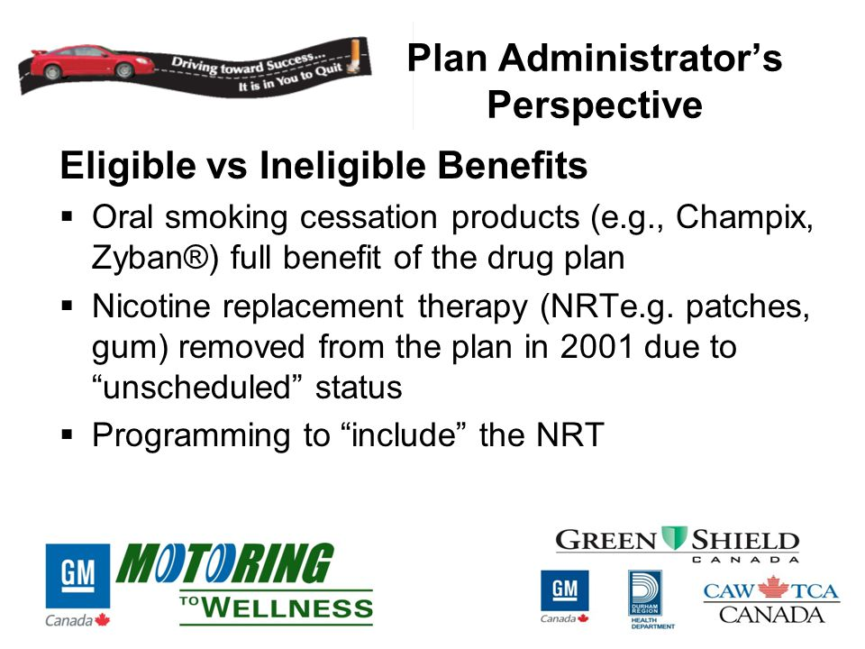 Plan Administrator's Perspective Eligible vs Ineligible Benefits  Oral smoking cessation products (e.g., Champix, Zyban®) full benefit of the drug plan  Nicotine replacement therapy (NRTe.g.