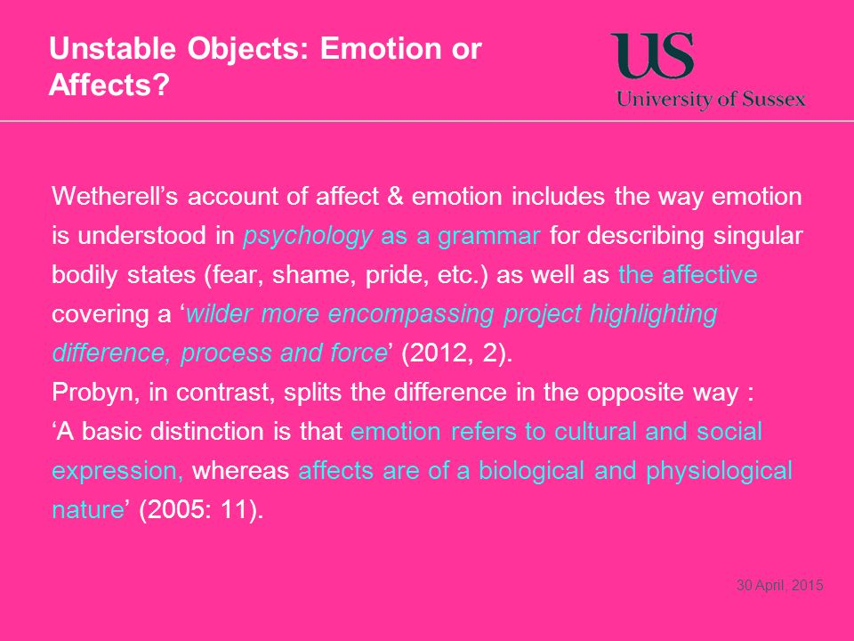 Unstable Objects: Emotion or Affects.