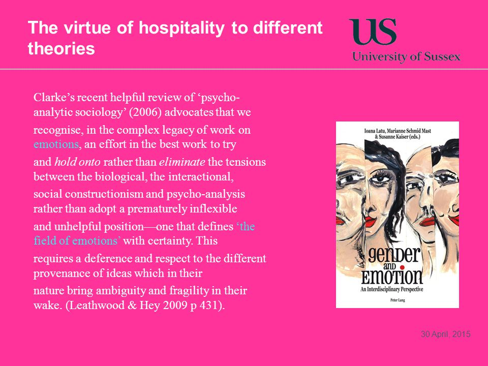 The virtue of hospitality to different theories 30 April, 2015 Clarke's recent helpful review of 'psycho- analytic sociology' (2006) advocates that we recognise, in the complex legacy of work on emotions, an effort in the best work to try and hold onto rather than eliminate the tensions between the biological, the interactional, social constructionism and psycho-analysis rather than adopt a prematurely inflexible and unhelpful position—one that defines 'the field of emotions' with certainty.