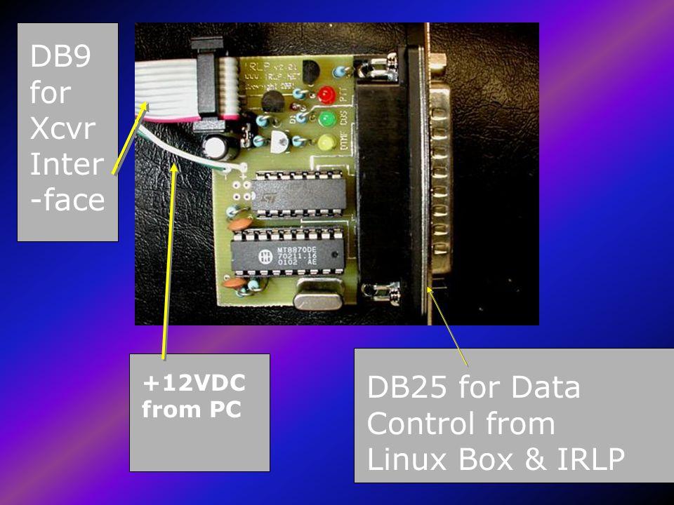 Hardware from VE7LTD The Custom Red Hat CD-ROM The Custom Red Hat CD-ROM Red Hat Boot Diskette Red Hat Boot Diskette Custom IRLP Software Custom IRLP Software Custom IRLP Control Board by Dave Cameron VE7LTD Does COR, PTT & DTMF Does COR, PTT & DTMF DB9 IRLP to Repeater Interface DB9 IRLP to Repeater Interface LPT1 to IRLP Jumper Cable LPT1 to IRLP Jumper Cable