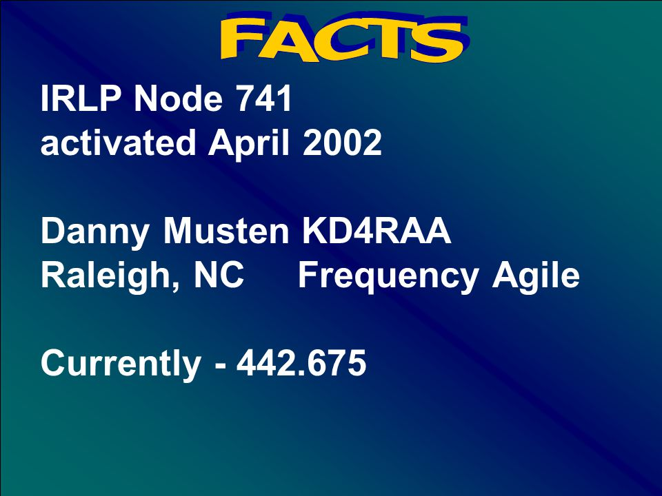 IRLP Node 748 activated April 2002 David Whicker N4JDW Wilmington, NC 145.170 + 88.5 Link on Demand to Ref921 to K4JDR-KD4RAA link System