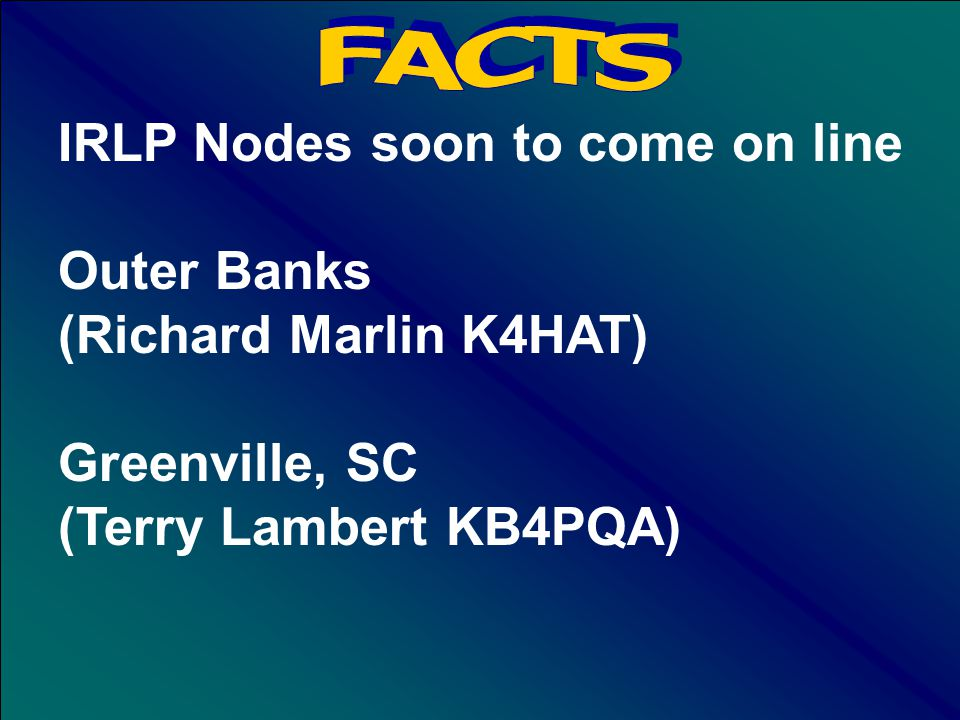 IRLP Node 741 activated April 2002 Danny Musten KD4RAA Raleigh, NC Frequency Agile Currently - 442.675