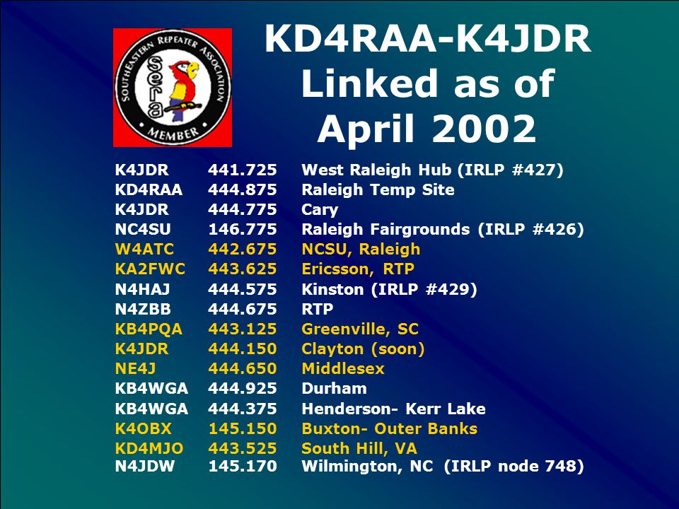 KD4RAA-K4JDR Supported Repeaters K4JDR 441.725 West Raleigh Hub (IRLP #427) KD4RAA 444.875 Raleigh Temp Site K4JDR 444.775 Cary NC4SU 146.775 Raleigh Fairgrounds (IRLP #426) W4ATC 442.675 NCSU, Raleigh (IRLP #741 temp) KA2FWC 443.625 Ericsson, RTP N4HAJ 444.575 Kinston (IRLP node #429) N4ZBB 444.675 RTP KB4PQA 443.125 Greenville, SC K4JDR 444.150 Clayton (soon) NE4J 444.650 Middlesex KB4WGA 444.925 Durham KB4WGA 444.375 Henderson- Kerr Lake K4OBX145.150 Buxton- Outer Banks KD4MJO 443.525 South Hill, VA N4JDW145.170 Wilmington, NC (IRLP node 748)