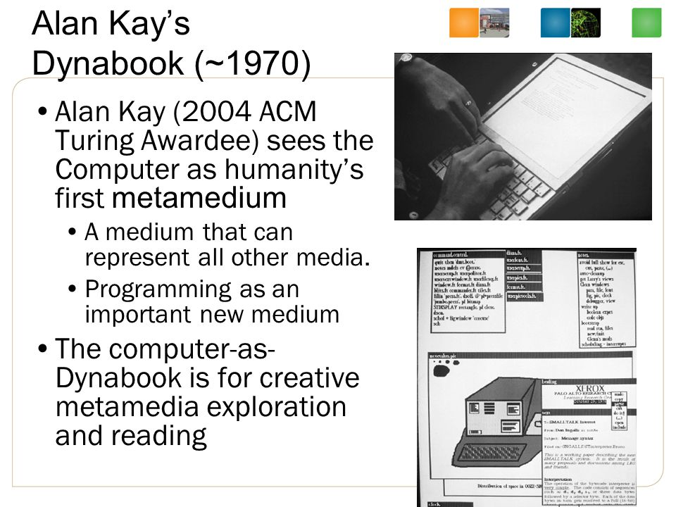 Alan Kay's Dynabook (~1970) Alan Kay (2004 ACM Turing Awardee) sees the Computer as humanity's first metamedium A medium that can represent all other media.