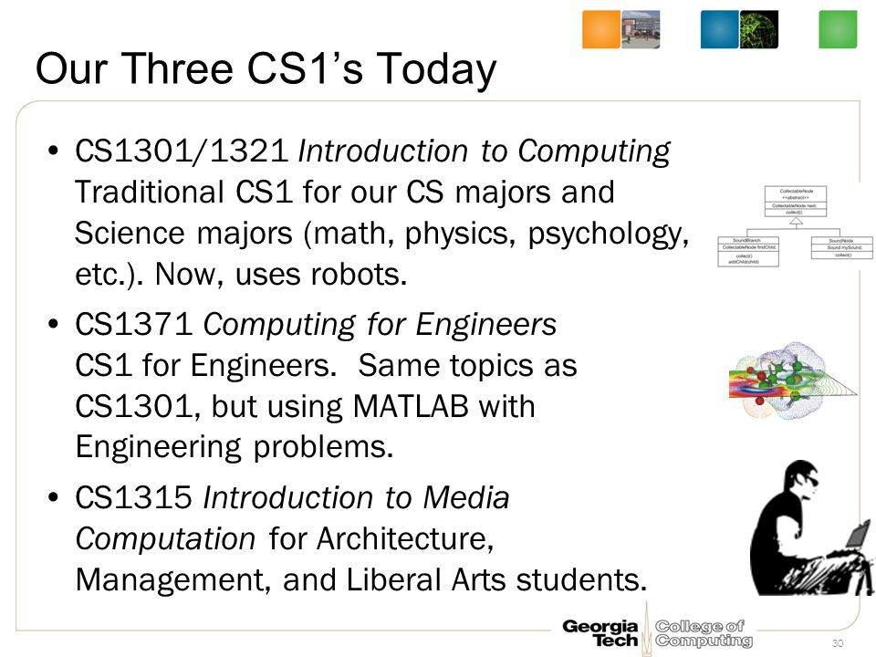 30 Our Three CS1's Today CS1301/1321 Introduction to Computing Traditional CS1 for our CS majors and Science majors (math, physics, psychology, etc.).