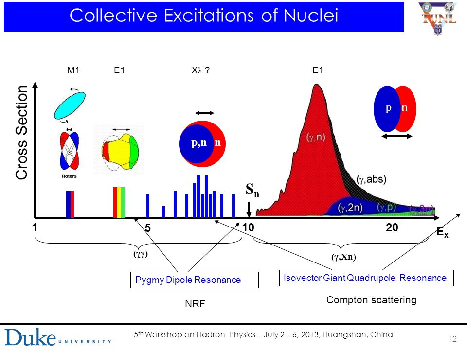 5 th Workshop on Hadron Physics – July 2 – 6, 2013, Huangshan, China 12 Collective Excitations of Nuclei SnSn P,n p n M1E1 p,nn X λ E1 ExEx Cross Section 1020 5 1 (γ  γ)‏ (γ,Xn)‏ Pygmy Dipole Resonance Isovector Giant Quadrupole Resonance NRF Compton scattering