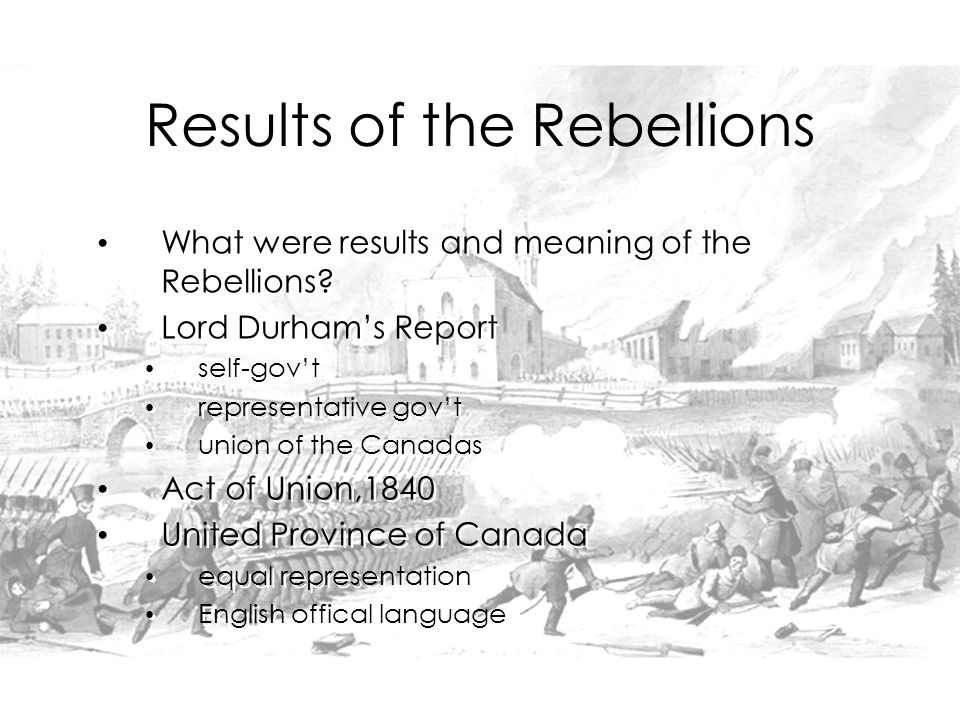 What were results and meaning of the Rebellions.