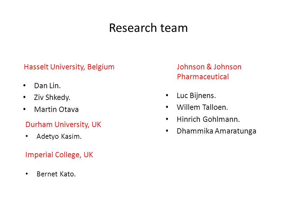 Research team Dan Lin. Ziv Shkedy. Martin Otava Luc Bijnens. Willem Talloen. Hinrich Gohlmann. Dhammika Amaratunga Hasselt University, BelgiumJohnson