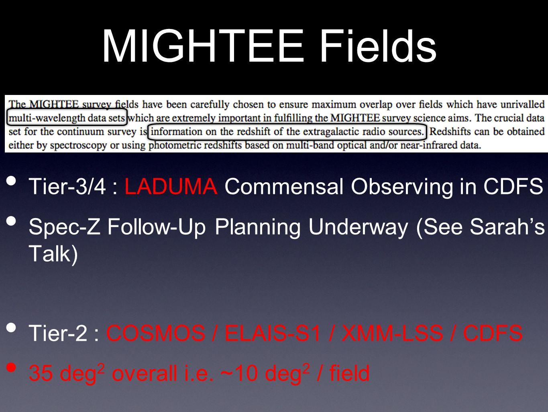 MIGHTEE Fields Tier-3/4 : LADUMA Commensal Observing in CDFS Spec-Z Follow-Up Planning Underway (See Sarah's Talk) Tier-2 : COSMOS / ELAIS-S1 / XMM-LSS / CDFS 35 deg 2 overall i.e.